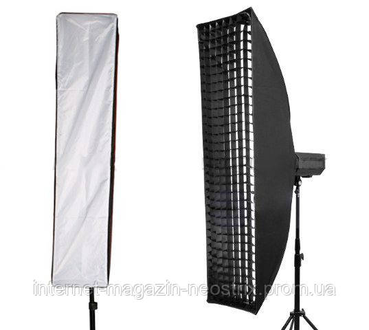 Софтбокс (стрипбокс) для фотосъемки с сотами Massa 35х200 см крепление Bowens
