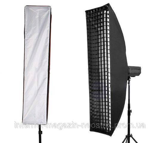Софтбокс (стрипбокс) для фотосъемки с сотами Massa 30х120 см крепление Bowens