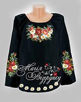 Заготовка женской вышиванки / блузки на черном полотне  НДч-02-1