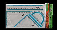 Комплект: лінійка 20см, 2 кутники, транспортир, з блакітною смугоюZB.5680