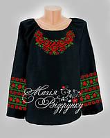 Заготовка женской вышиванки / блузки на черном полотне  НДч-07-1