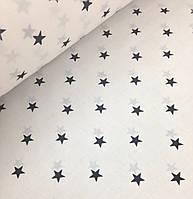 Хлопковая ткань польская звезды черные 15 мм на белом