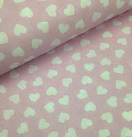Хлопковая ткань польская сердечки белые на розовом