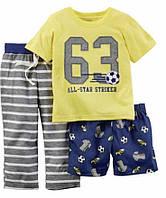 Детская пижама для мальчика Carters 3в1 24 мес