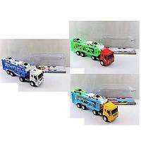 Трейлер 3366-3697-3697-1, инерционный, 40,5 см, в комплекте с 4 машинками, 3 вида (1 вид полиция), в слюде