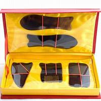 Набор скребков (сувенир - подарок) из рога буйвола для массажа Гуаша