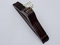 Плечики вешалки  тремпеля деревянные цвета  вишни Fashion, длина 44,5 см, в упаковке 5 штук
