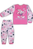 """Детская  пижама """"Зайка"""" для девочек,футер начес"""