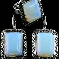 Комплект Лунный камень серьги и кольцо