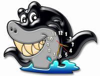 Часы настенные детские фигурные 30*40 см - Веселая акула 3D фотопечать