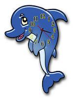 Часы настенные детские фигурные 30*42 см - Малыш Дельфин 3D фотопечать