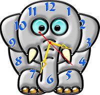 Часы детские настенные фигурные 30*30 см - Малыш слоненок 3D фотопечать