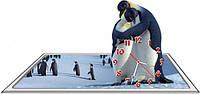 Часы настенные фигурные 30*45 см - Пингвины 3D фотопечать