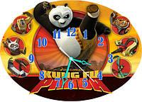 Часы детские настенные фигурные 30*43 см - Панда Кунг-Фу 3D фотопечать