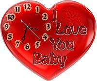 Часы настенные фигурные 30*36 см - I Love You Baby 3D фотопечать