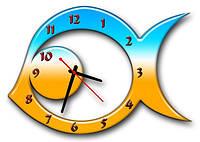 Часы настенные фигурные 30*45 см - Патриотическая рыбка 3D фотопечать