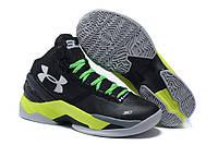 Кроссовки баскетбольные мужские Under Armour Curry 2 Черно-салатовые , фото 1