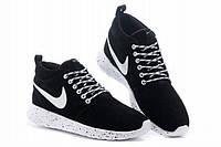 Мужские кроссовки Nike Roshe Run Suede High Top Black White London Trainers черно-белые