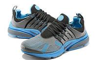 Кроссовки Nike Air Presto Flyknit  серые с голубым беговые