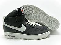 Мужские кроссовки Nike Air Force High серого цвета замшевые
