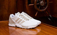 Кроссовки мужские Adidas ZX Flux белые  кожаные кроссовки адидас