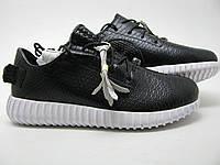 Мужские Кроссовки Adidas Yeezy 350 Boost Кожа  черные