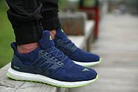 Кроссовки зимние Adidas Ultra boost Suede Royal Blue Green мужские замшевые  кроссовки адидас, фото 1