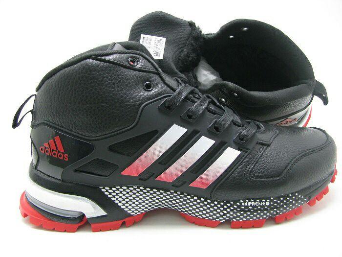 Кроссовки зимние мужские Adidas marathon winter черно-красные