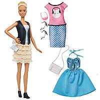 Набор кукла Барби и одежда Barbie Fashionistas Fashions Leather Ruffles