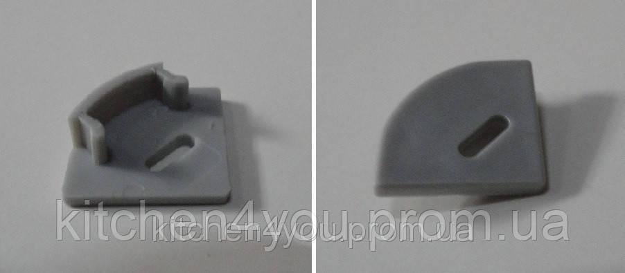 ЗПУО заглушка с отверстием, универсальная для углового профиля ЛПУ 17, серый пластик