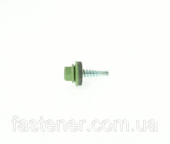 Саморез кровельный для листового металла Farmarskruv 4,8х20 с шайбой EPDM, RAL 6021, (упак-250 шт), Швеция, фото 1