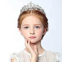 Детская корона, диадема для девочки, в серебре высота 5 см.