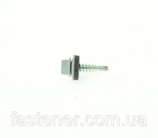Саморіз покрівельний для листового металу Farmarskruv 4,8х20 з шайбою EPDM, RAL 7040, (упак-250 шт), Швеція