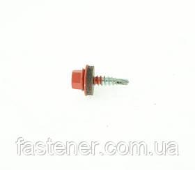Саморез кровельный для листового металла Farmarskruv 4,8х20 с шайбой EPDM, RAL 8004, (упак-250 шт), Швеция