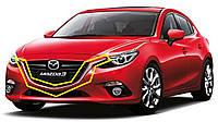 Mazda 3 2014-16 Решетка радиатора хромовые накладки молдинги на решетку радиатора Новые Оригинал