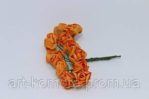 Роза бумажная оранжевая, 1,5 см. 12 цветков в наборе.