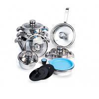 Набор посуды Invicо со стеклянными крышками, 16 предметов