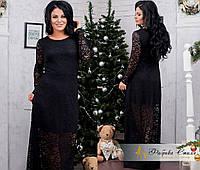 Платье в пол из гипюра с поясом большого размера