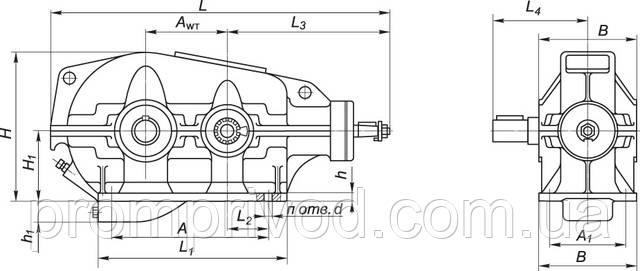 Размеры редуктора КЦ1-200