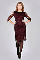 Стильное кружевное женское платье с молнией на спинке