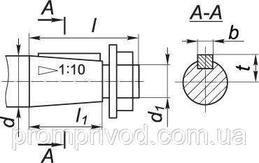 Размеры конического вала редуктора Ц2-250