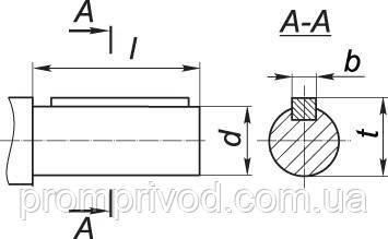 Размеры цилиндрического вала редуктора КЦ1