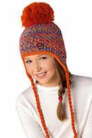 Теплая вязанная шапочка ушанка для девочки от Loman Польша