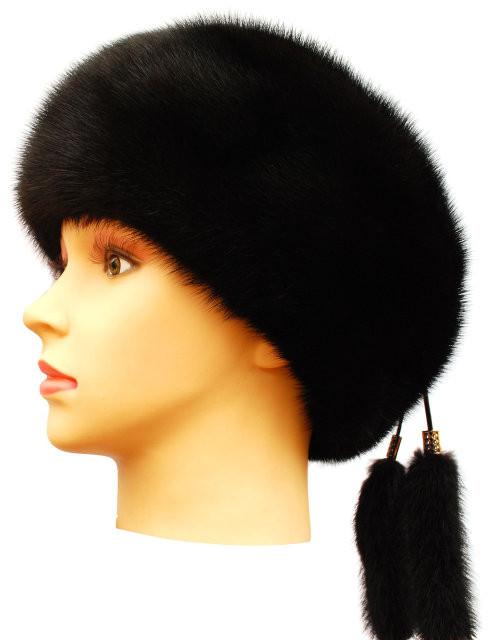 Женская  меховая  шапка берет из норки