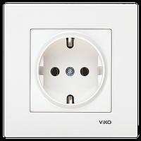 Розетка с заземлением белая Viko (Вико) Karre (90960008)