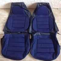Чехлы модельные Pilot для  Lanos ткань чер.+ тк. син. (больше поролона/ткань Копер) Пилот для Ланос