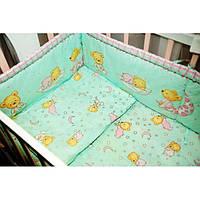 Бампер в кровать и набор постели- Мишка на подушке