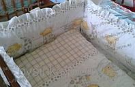 """Комплект постели в кроватку новорожденного - """"Мишка на подушке""""-белый с серым"""