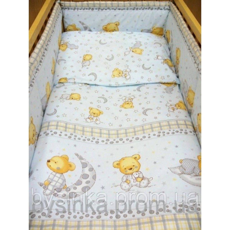 Комплект постели в кроватку новорожденного - Мишка на подушке