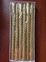 Ароматизированная свеча, золотая с блестками 27 см